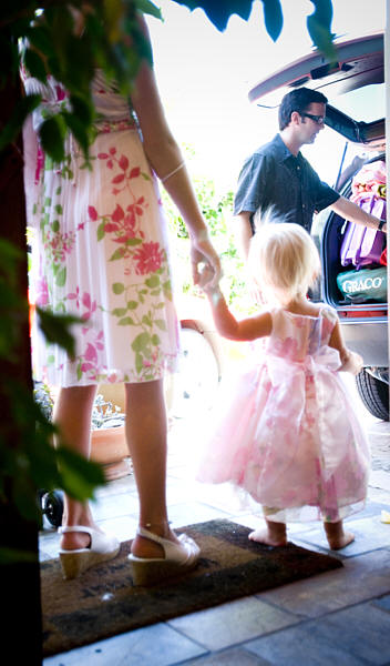 baby flower girl getting ready