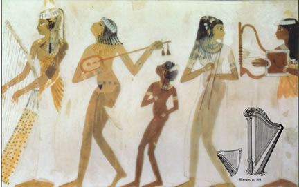 ancient depiction of old harps in egypt