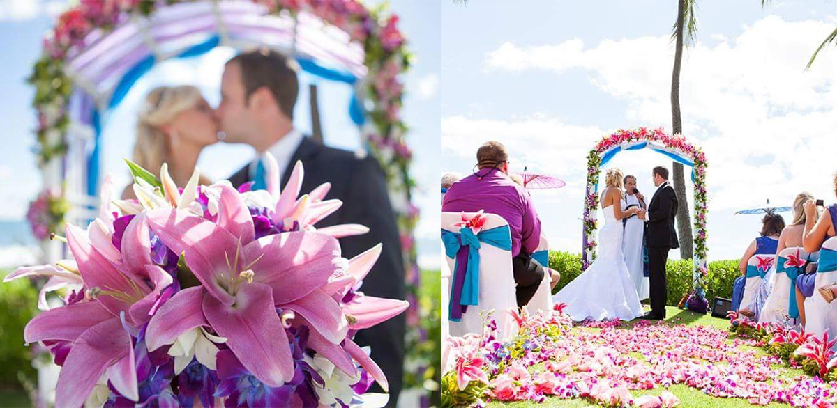 Wedding at paradise cove oahu with white arch multi tropcal flowers