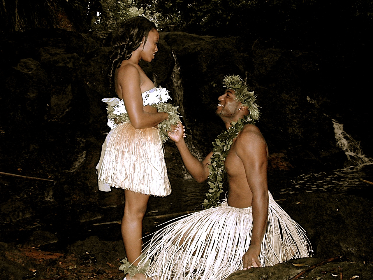 wedding proposal in the forest of Hawaii