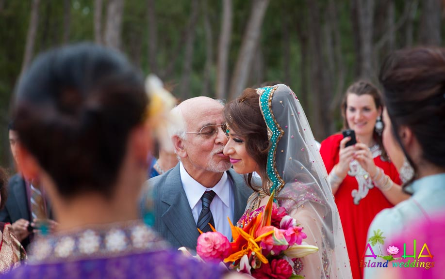 father kisses the bride
