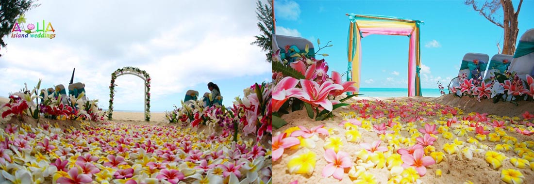 plumeria beach wedding aisle way design in hawaii