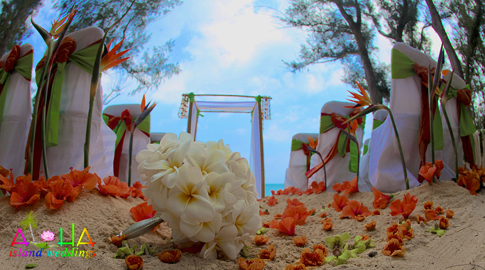 all white plumeria bouquet on the sand by orang hibiscus
