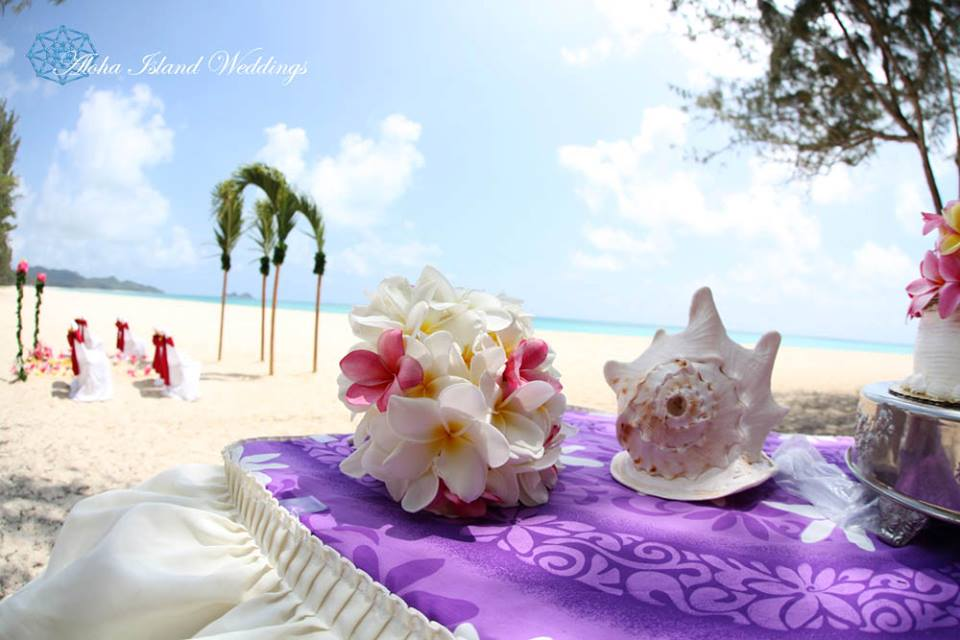 conch shell on the tabl with the wedding cake with palm in the sand arch in the distance