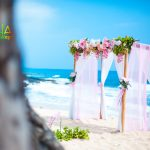 archway of pink theme on the beach of Hawaii by a tree