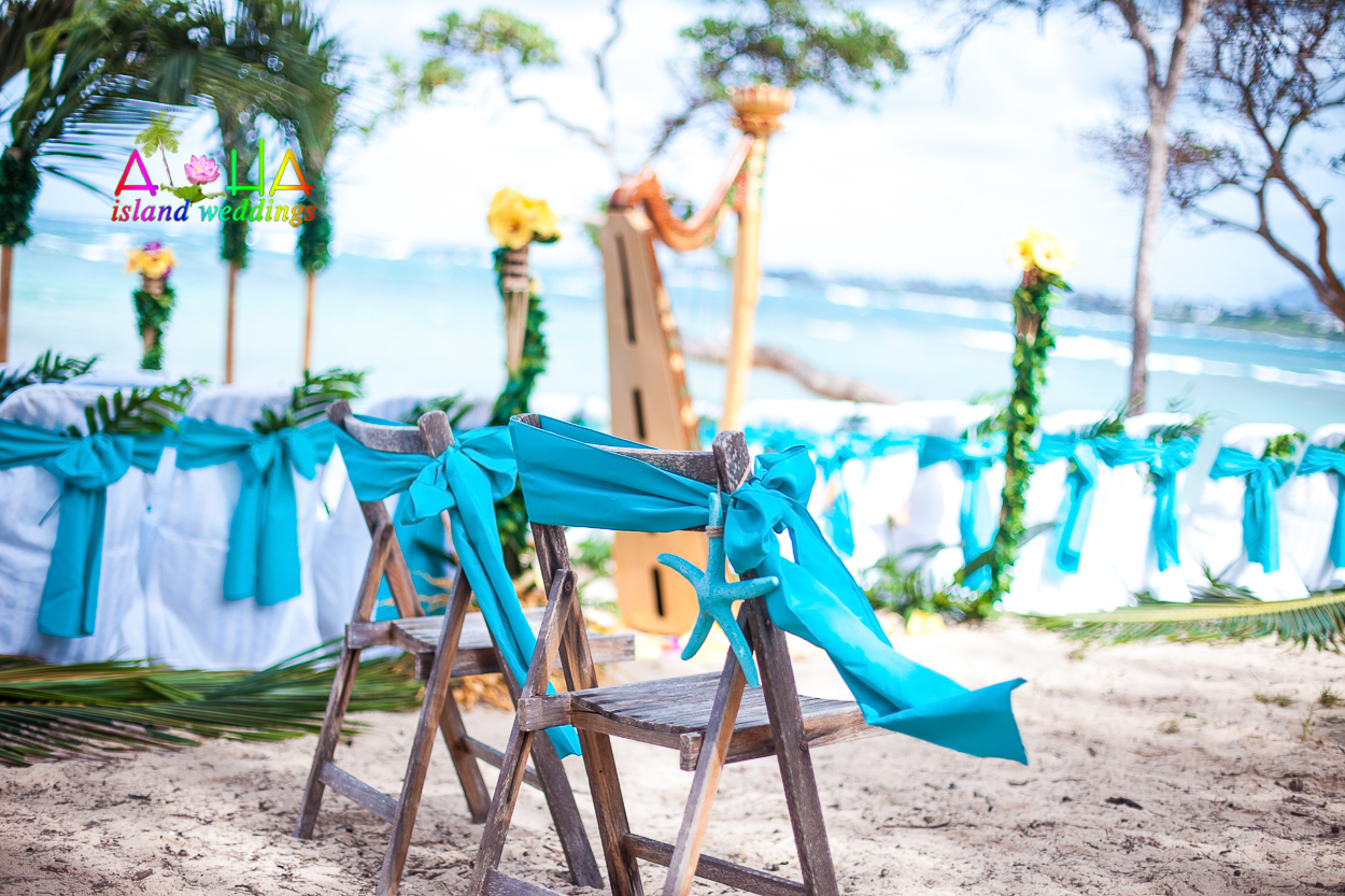 hawaii beach wedding with harp and ocean blue theme